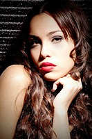 Brunette young woman with lipstick