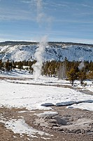 Winter, Upper Geyser Basin in Yellowstone NP, WY