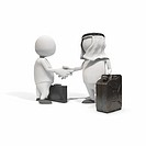Anthropomorphic figures with fuel can and briefcase shaking hands, CGI (thumbnail)