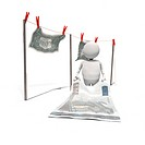 Anthropomorphic figure hanging banknotes on clothesline, CGI