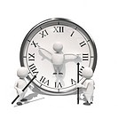 Anthropomorphic figure replacing hands of a clock, CGI