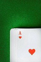 Ace of hearts on deck