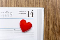 Red heart marking Valentine's Day in a calendar