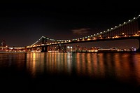 Manhattan Bridge above East River at night, New York City, USA