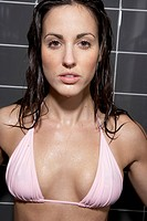 Woman in Bikini in Shower