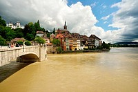Laufenburg on Rhinesituated in both Germany and Switzerland  White church in Switzerland  Red church in Germany