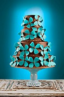 Four_tiered Chocolate Ganache with Blue Flower Motif
