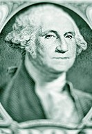 Close_up of George Washington on a one dollar bill