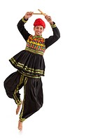 Male dandiya dancer dancing with sticks