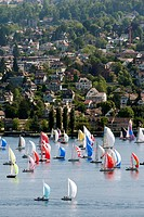 Sailing regatta on Lake Zurich, Zurich, Switzerland, Europe