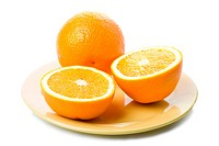 ripe oranges in yellow plate isolated