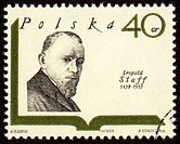 POLAND _ CIRCA 1969: A stamp printed in Poland shows polish writer Leopold Staff 1878_1957