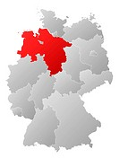 Map of Germany, Lower Saxony highlighted