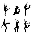 silhouettes of street dancers on a white backgroun