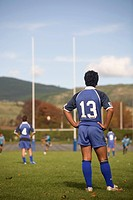 New Zealand, Rotorua, Rugby Player in field