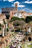 High angle view of tourists at an archaeological site, Roman Forum, Rome, Lazio, Italy