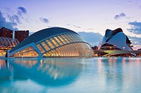 Hemisfèric Planetarium and Palau de les Arts Reina Sofia, Ciudad de las Artes y las Ciencias City of Arts and Sciences, Valencia, Spain