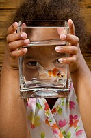 Girl Looking at Goldfish in Bowl
