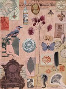 Ephemeral on display, by Gerry Charm, collage, 2011