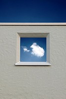 wall with a window and a cloud