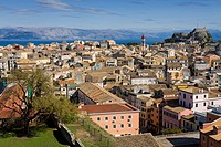 High angle view of an old town, Corfu Town, Ionian Islands, Greece