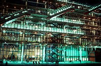 Facade of a museum lit up at night, Pompidou Center, Paris, Ile_de_France, France