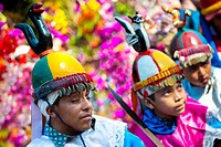 Salvadoran boys, dressed as Moors and Christians, perform the traditional dance during the Flower & Palm Festival in Panchimalco, El Salvador, 8 May 2...