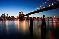 The Brooklyn Bridge at night, New York City