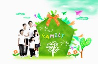 A family with green family present
