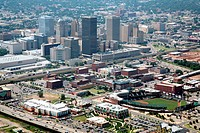 Aerial view of downtown Oklahoma City skyline with RedHawks Field at Bricktown stadium in foreground, Oklahoma, USA