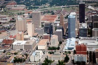 Aerial view of downtown Oklahoma City skyline, Oklahoma, USA