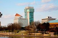 Buildings at the waterfront, Arkansas River, Wichita, Kansas, USA