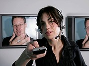 Businesswoman Teleconferencing with Businessman