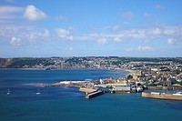 UK, Cornwall, West Penwith, Penzance harbor, aerial view
