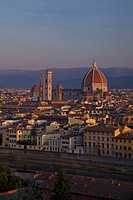High angle view of Duomo Santa Maria Del Fiore at dawn viewed from Piazzale Michelangelo, Florence, Tuscany, Italy