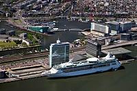 Netherlands, Amsterdam, Aerial of passengers cruise terminal, Cruise ship