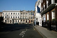 Buildings in a city, Chatham House, London Library, East India Club, St James's Square, St James's, London, England