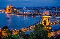 Chain bridge with Orszaghaz in background, Budapest, Hungary