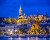 Castle Hill with Matthias Church seen from across the Danube River, Budapest, Hungary