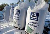 Sacks of forest fertilizers, saltpeter / potassium nitrate  Location Suonenjoki Finland Scandinavia Europe