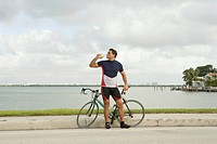 Bicyclist Drinking from Water Bottle
