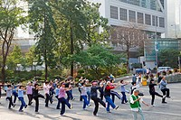 People practicing Tai Chi, Central District, Hong Kong, China