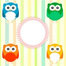 Vector cute owl card. Baby arrival announcement