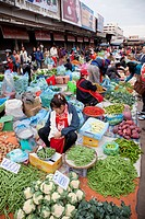 Women selling vegetables at morning market, Talat Sao, Vientiane, Laos