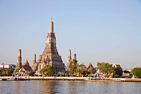Wat Arun Temple of Dawn and Chao Phraya River, Bangkok, Thailand