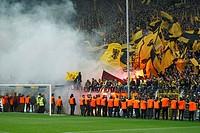 sports, football, Bundesliga, 2011/2012, Borussia Dortmund versus SC Freiburg 4:0, Stadium Signal Iduna Park in Dortmund, football fans, rampage, riot...