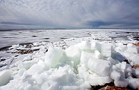 Melting ice blocks at seashore  Location Oulunsalo Riutunkari Finland Scandinavia Europe