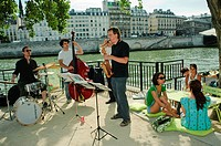 Paris, France, Jazz Band Performing on River Bank of Seine, at Paris Plage, Summer Event