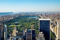 Central Park, from the top of the Rockefeller Center Building, Manhattan, New York City  USA.