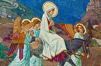 Mosaic of the Virgin Mary, Church of the Visitation, town of Ein Karem birthplace of John the Baptist, near Jerusalem, Israel